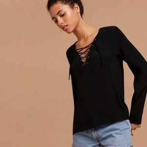 EUC Aritzia Black Lace Up Blouse